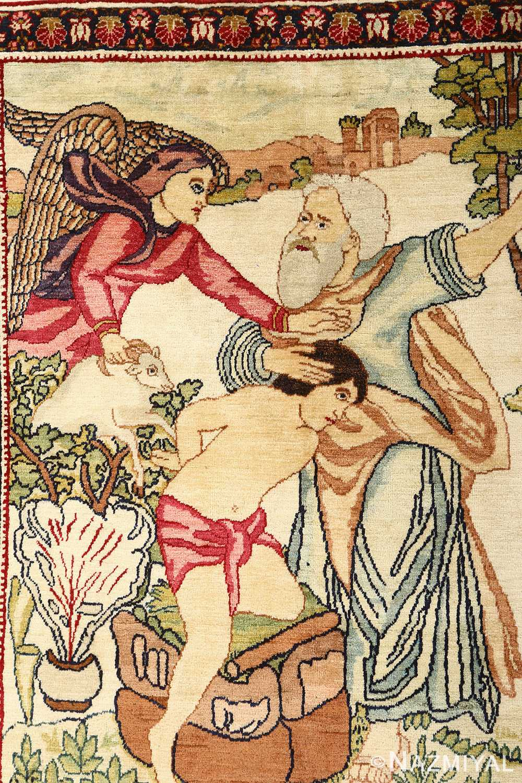 pair of antique biblical kerman persian rug 51173 field vertical Nazmiyal