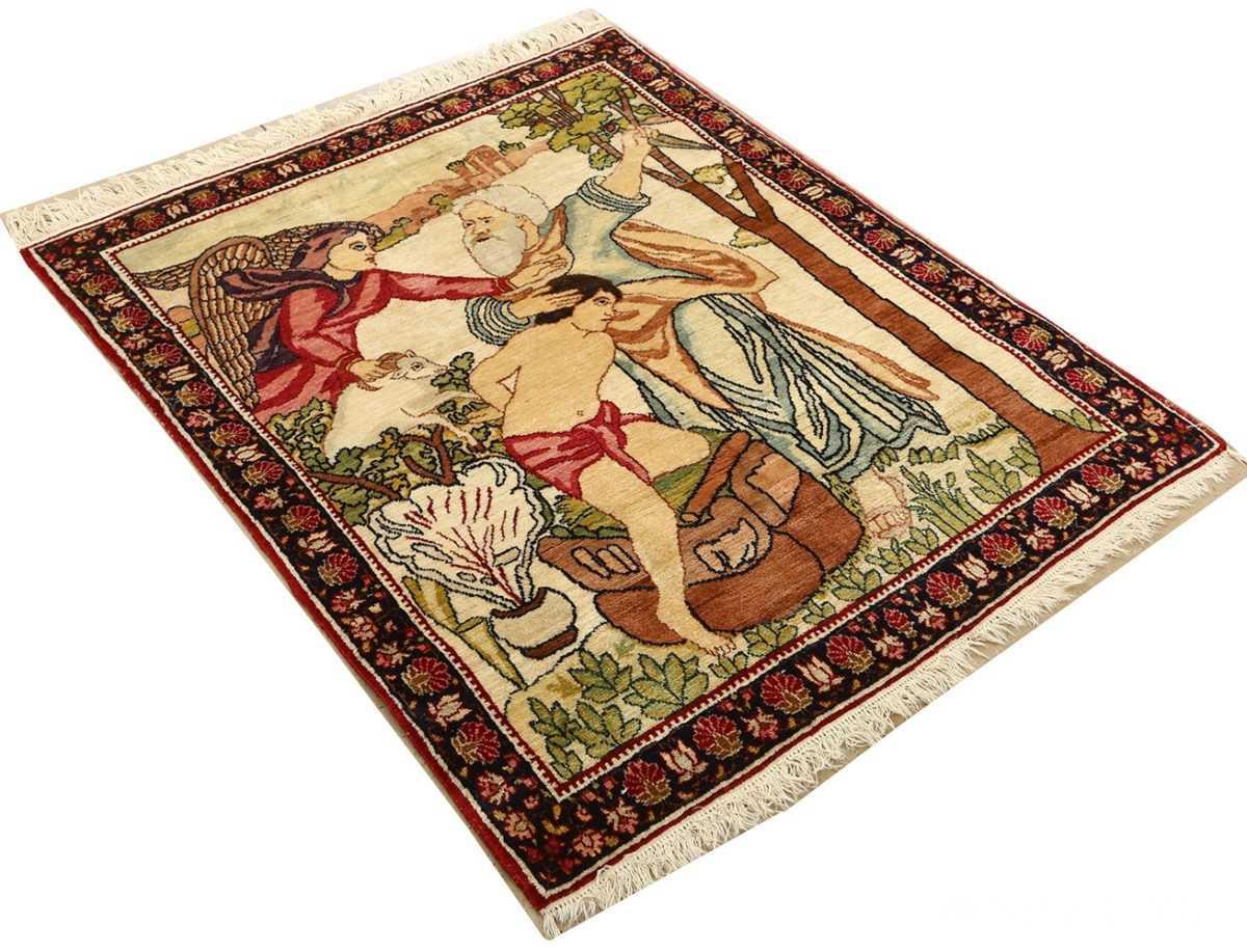 pair of antique biblical kerman persian rug 51173 side Nazmiyal
