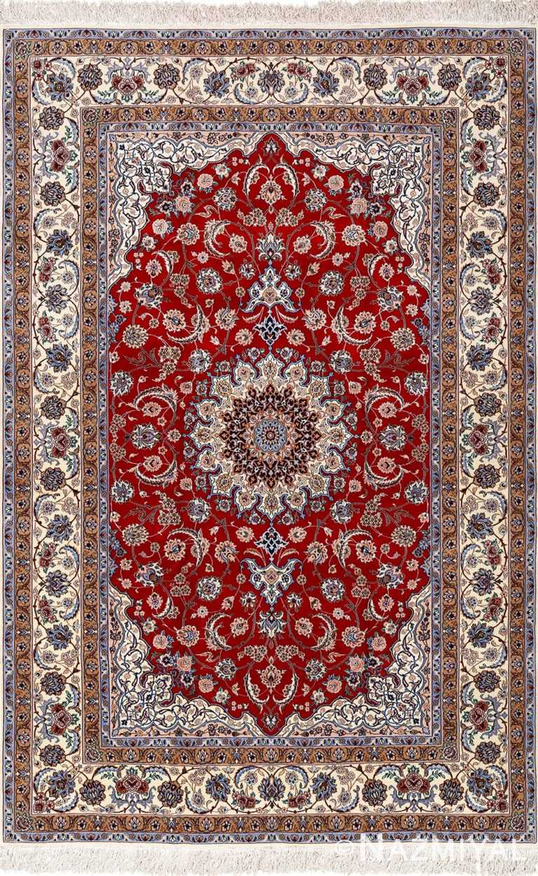 red background vintage isfahan peresian rug 51147 Nazmiyal