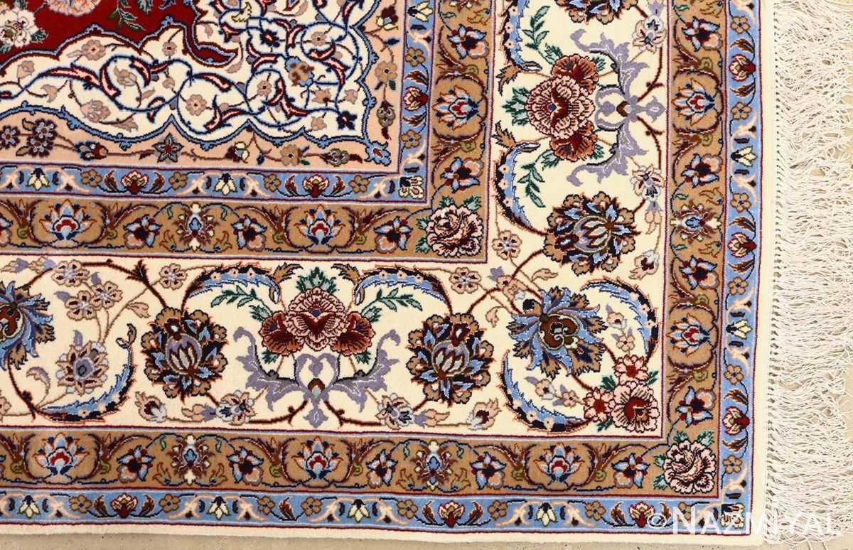 red background vintage isfahan peresian rug 51147 corner Nazmiyal