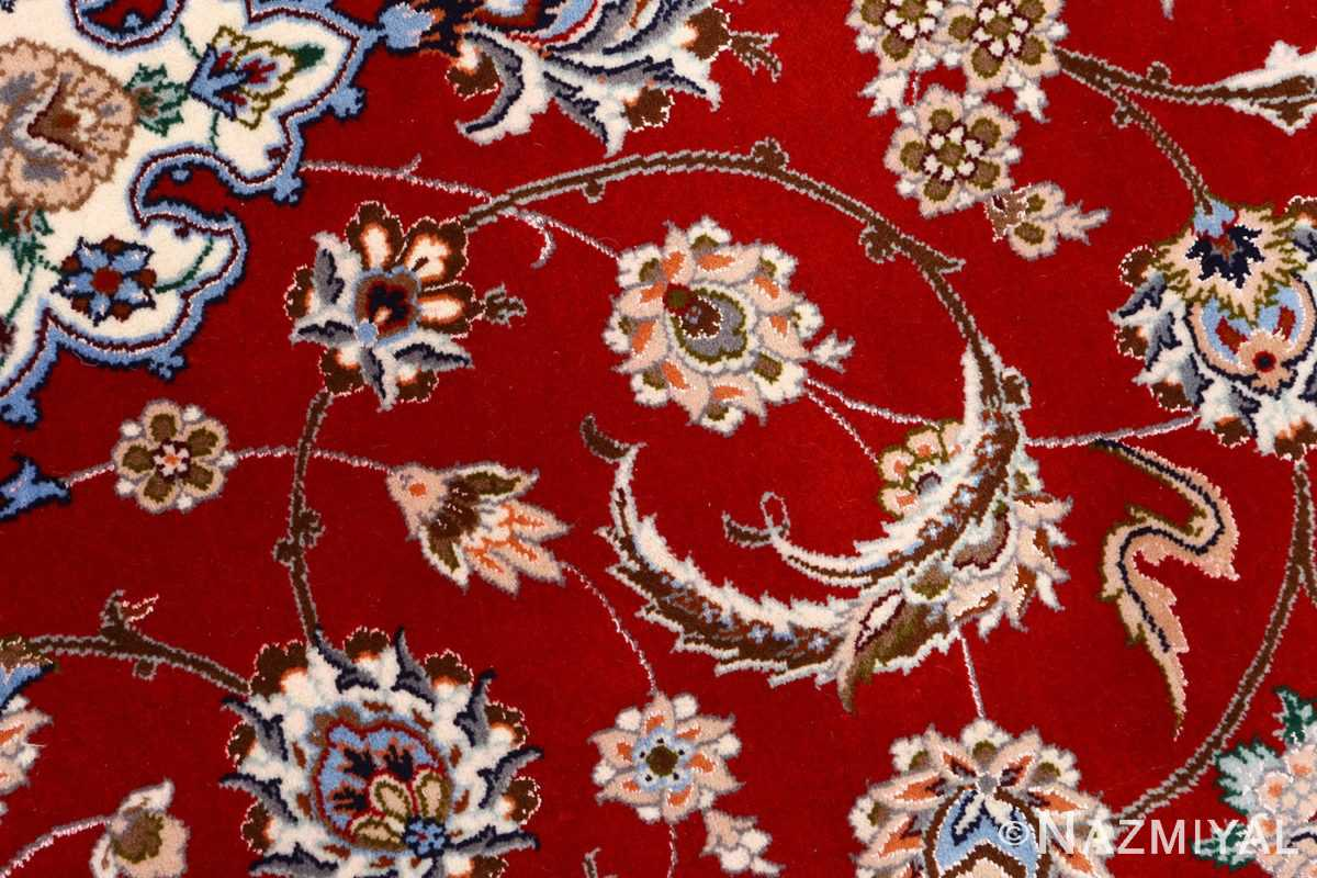 red background vintage isfahan peresian rug 51147 flower Nazmiyal