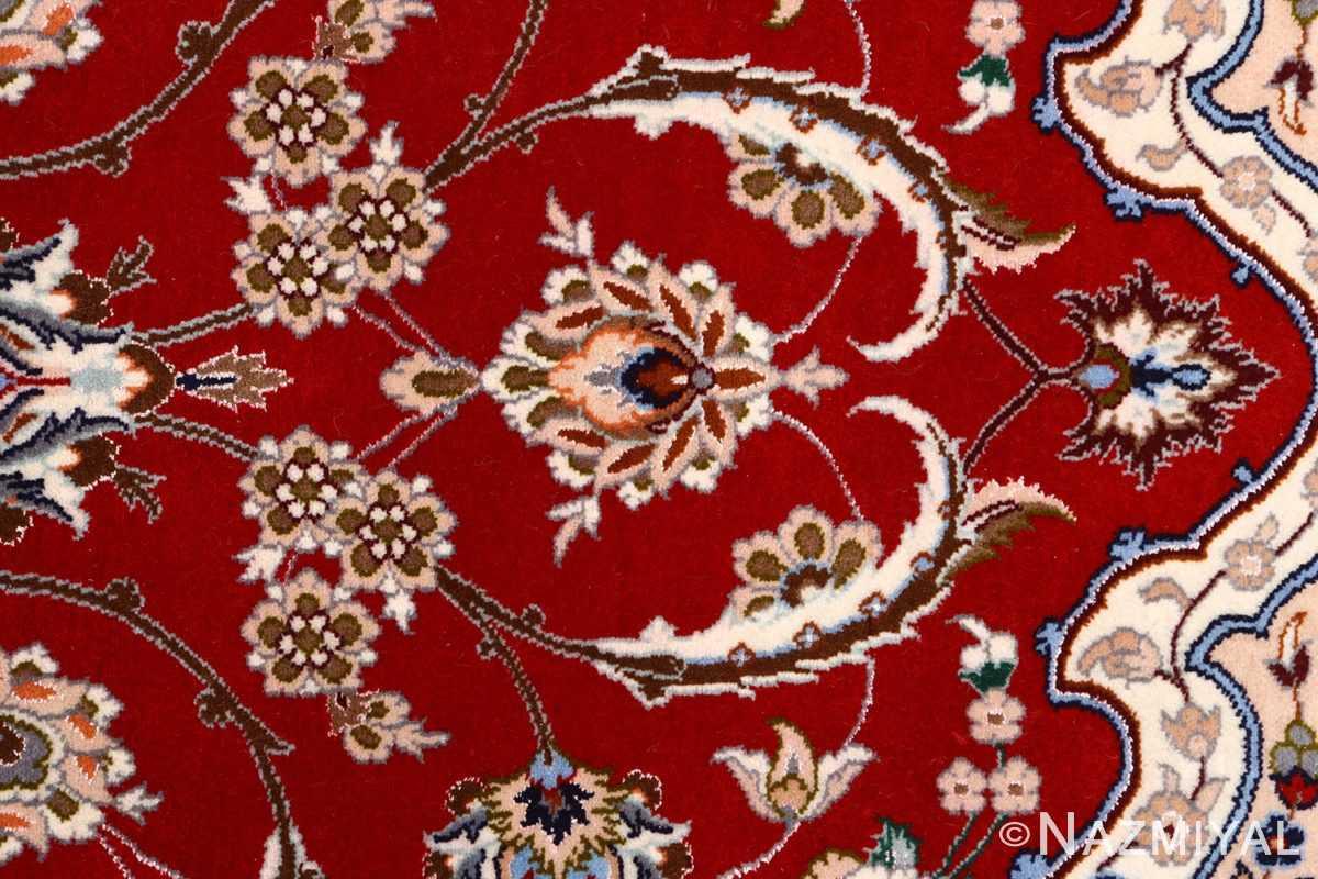red background vintage isfahan peresian rug 51147 scrolls Nazmiyal