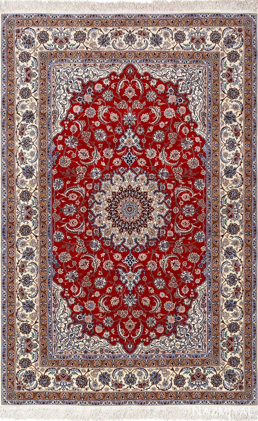red background vintage isfahan peresian rug 51147 Nazmiyal