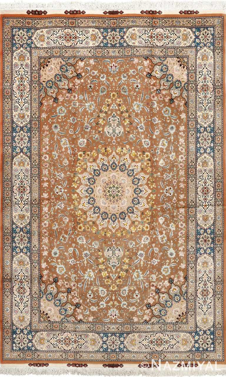 Fine Floral Vintage Brown Persian Tabriz Area Rug #51158 by Nazmiyal Antique Rugs