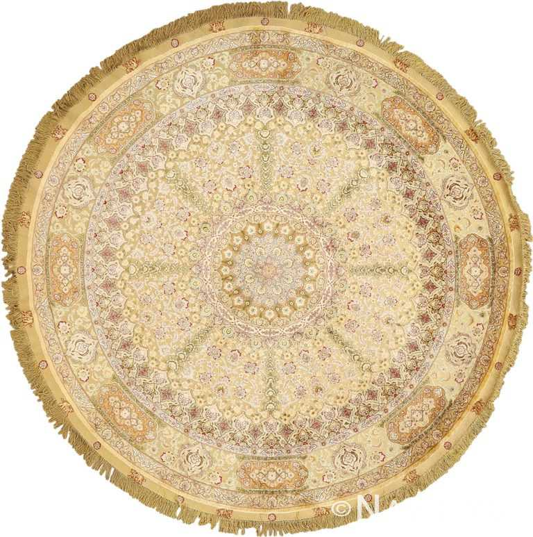 silk and gold threading round vintage tabriz persian rug 51130 Nazmiyal