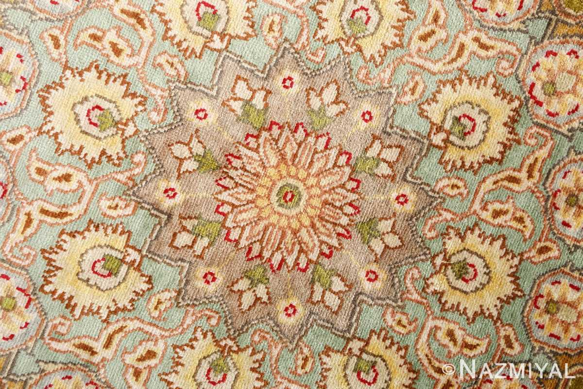 silk and gold threading round vintage tabriz persian rug 51130 center Nazmiyal