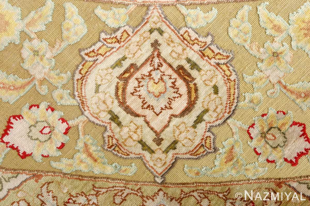 silk and gold threading round vintage tabriz persian rug 51130 design Nazmiyal