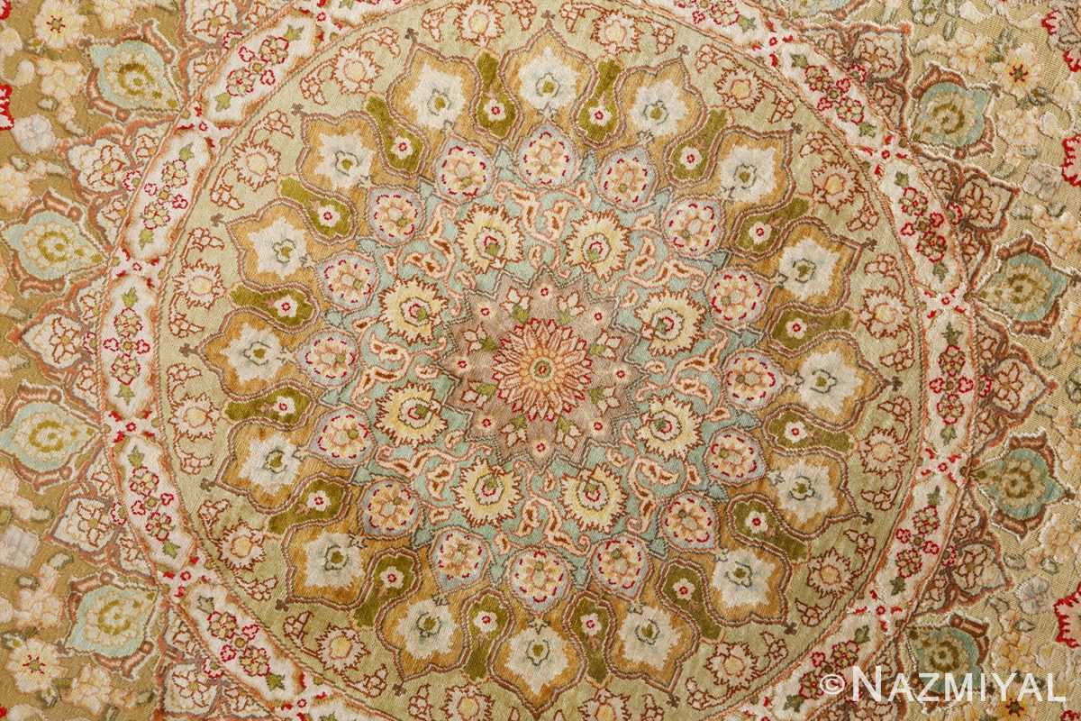 silk and gold threading round vintage tabriz persian rug 51130 medallion Nazmiyal