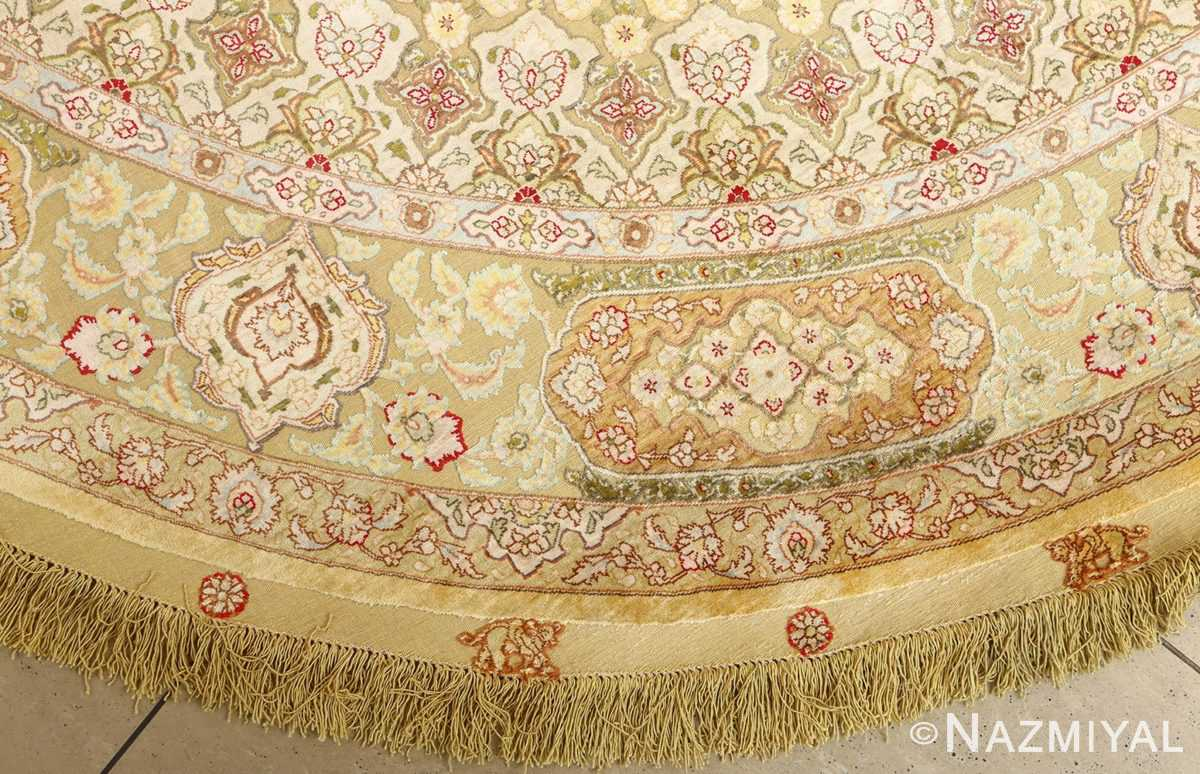 silk and gold threading round vintage tabriz persian rug 51130 side Nazmiyal