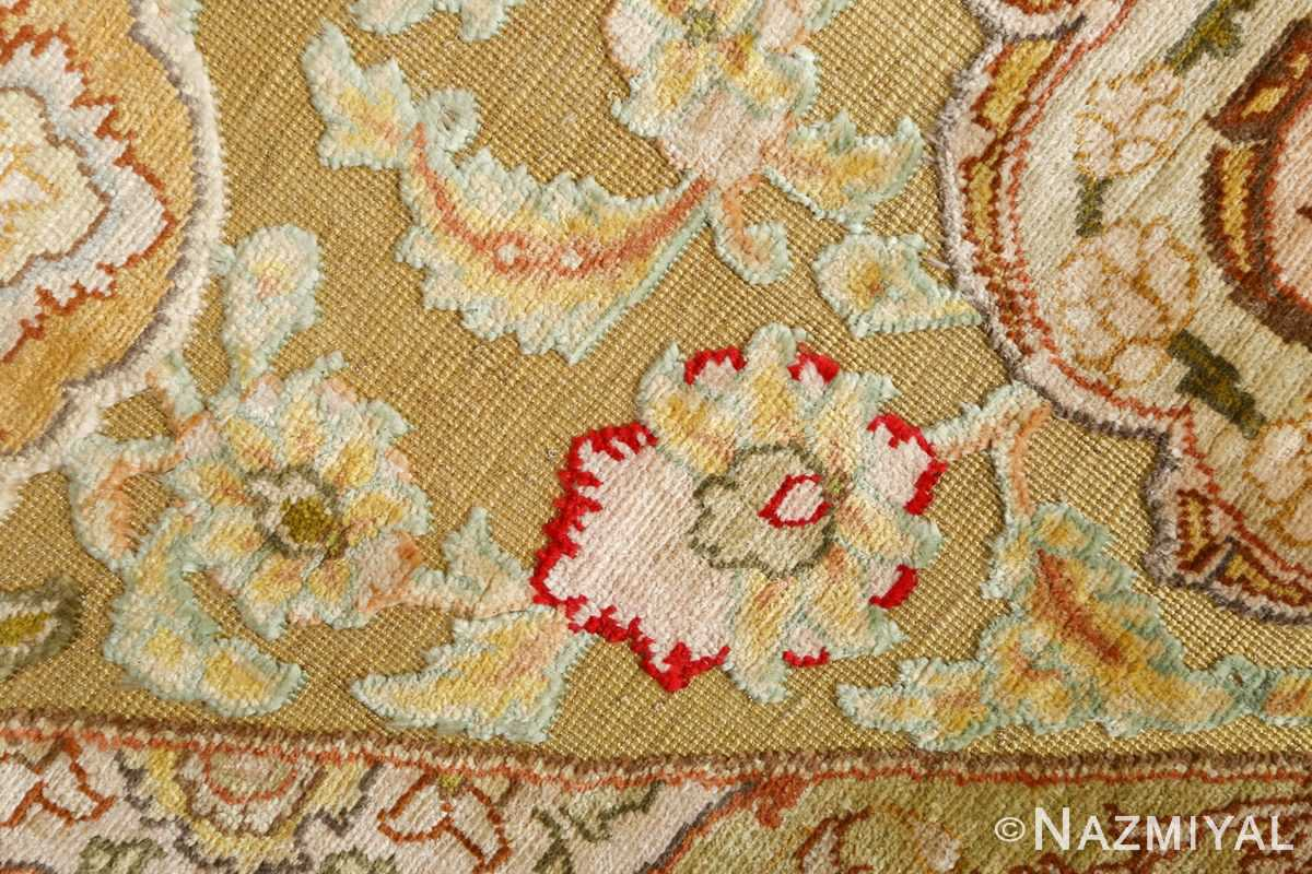 silk and gold threading round vintage tabriz persian rug 51130 souf Nazmiyal