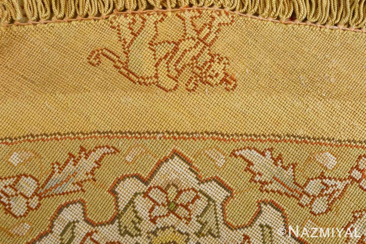 silk and gold threading round vintage tabriz persian rug 51130 weave Nazmiyal