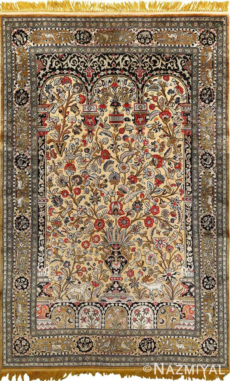 silk animal motif vintage qum souf rug 51163 Nazmiyal