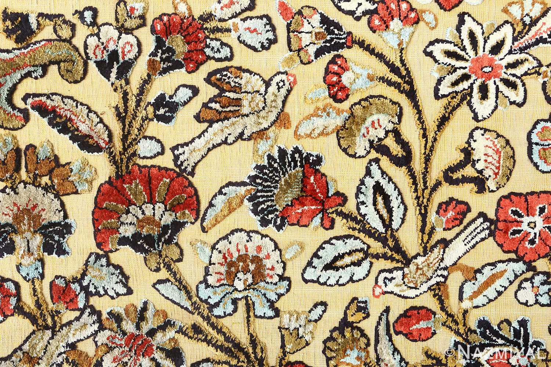 silk animal motif vintage qum souf rug 51163 birds Nazmiyal