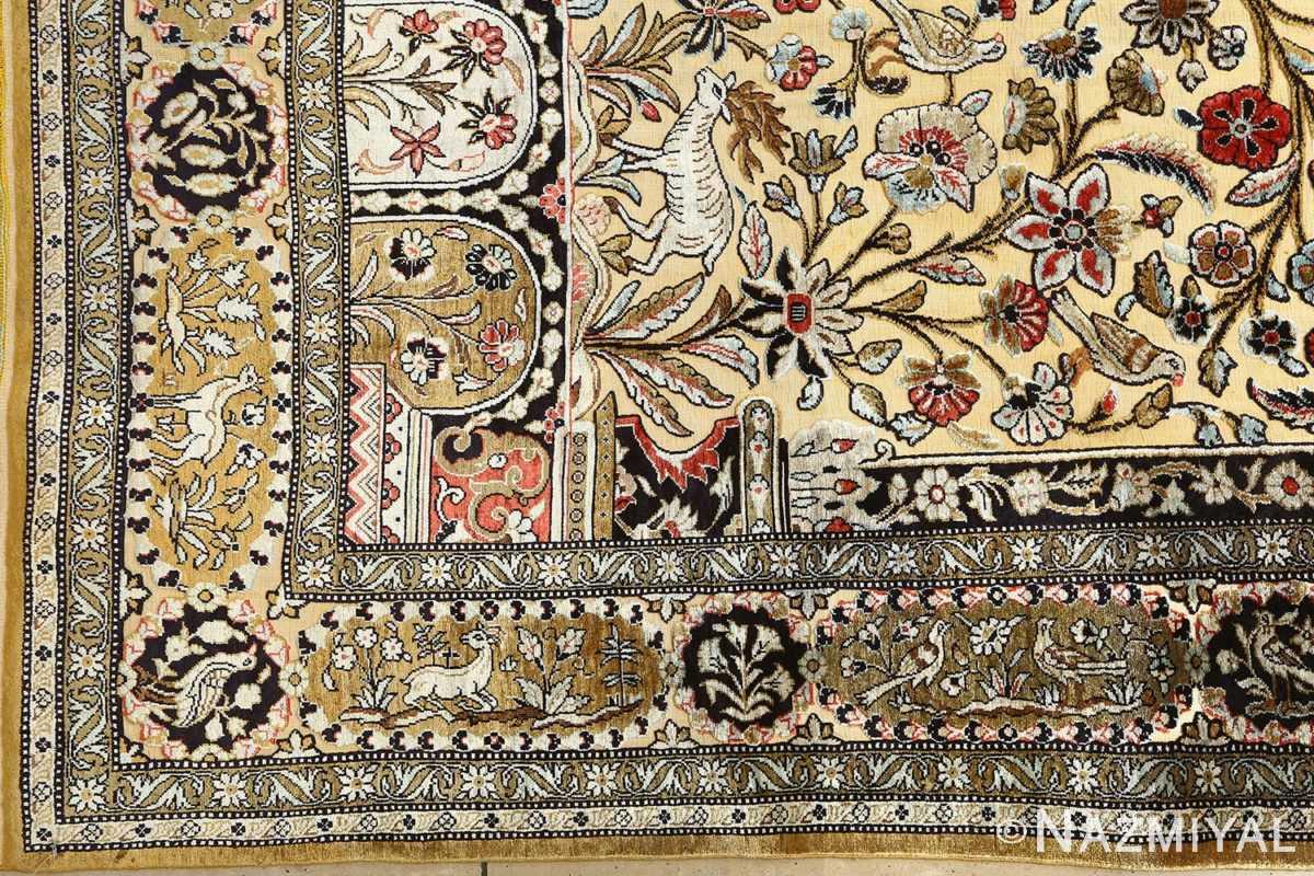 silk animal motif vintage qum souf rug 51163 corner Nazmiyal