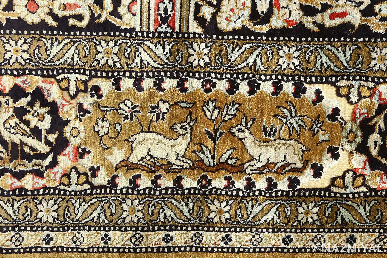 silk animal motif vintage qum souf rug 51163 deers Nazmiyal