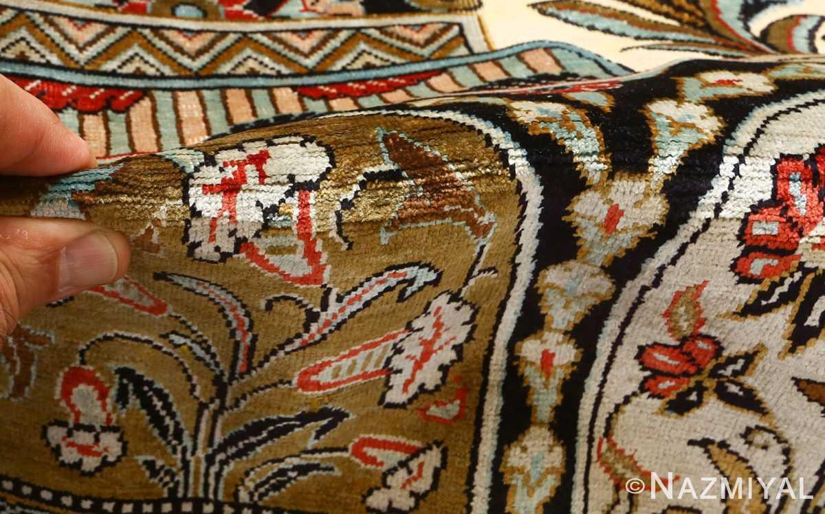 silk animal motif vintage qum souf rug 51163 pile Nazmiyal