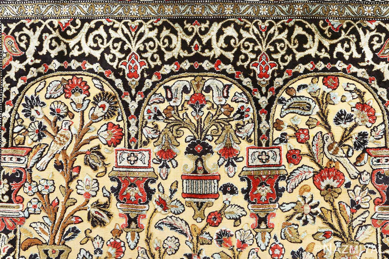 silk animal motif vintage qum souf rug 51163 top Nazmiyal