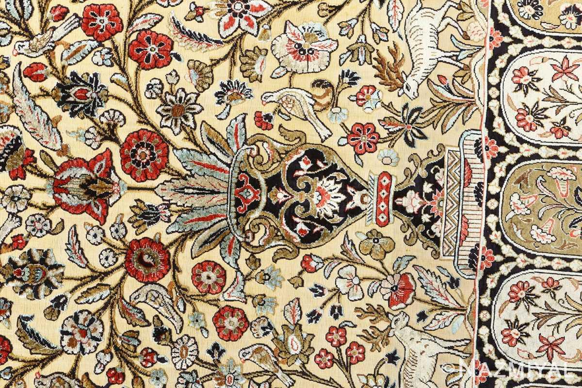 silk animal motif vintage qum souf rug 51163 vase Nazmiyal