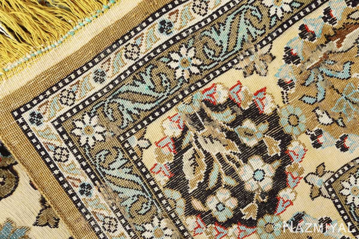 silk animal motif vintage qum souf rug 51163 weave Nazmiyal