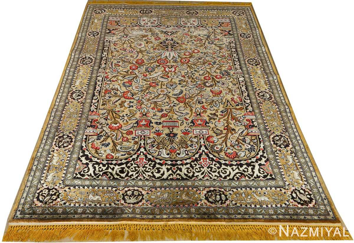 silk animal motif vintage qum souf rug 51163 whole Nazmiyal