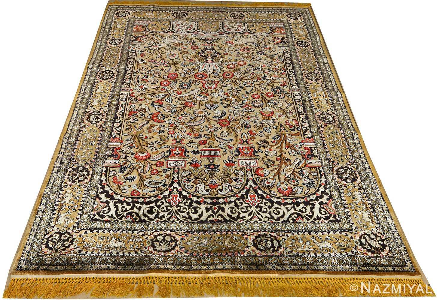 silk animal motif vintage qum souf rug 51163 whole Nazmiyal