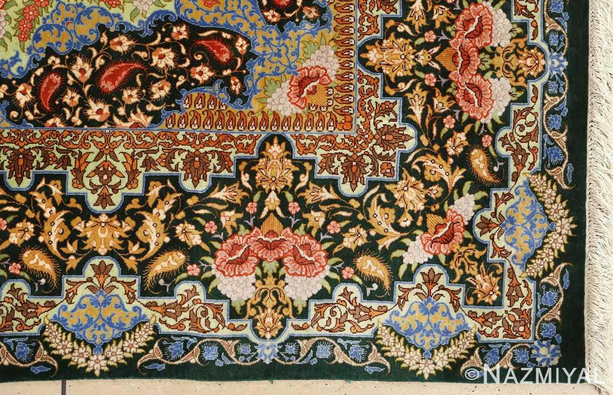 silk vintage qum persian rug 51171 corner Nazmiyal