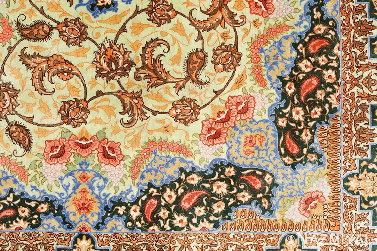 silk vintage qum persian rug 51171 design Nazmiyal