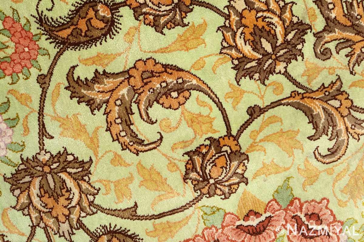 silk vintage qum persian rug 51171 green Nazmiyal