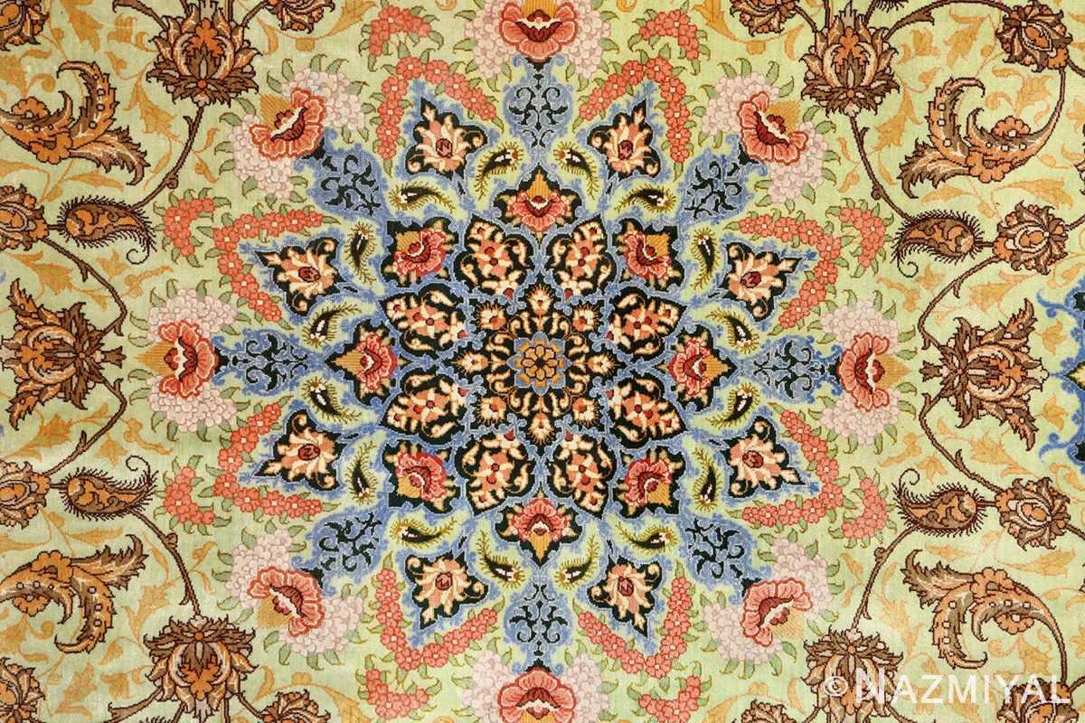 silk vintage qum persian rug 51171 medallion Nazmiyal
