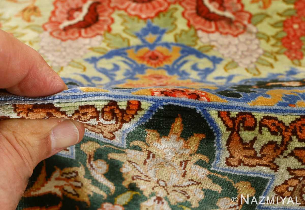 silk vintage qum persian rug 51171 pile Nazmiyal