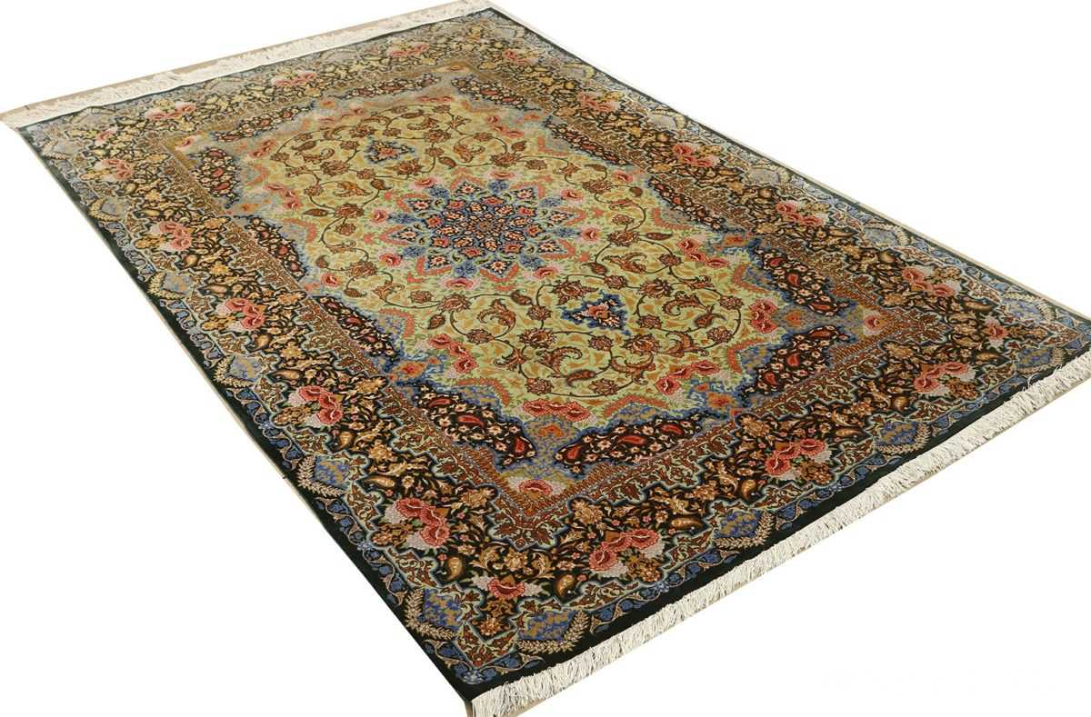 silk vintage qum persian rug 51171 side Nazmiyal