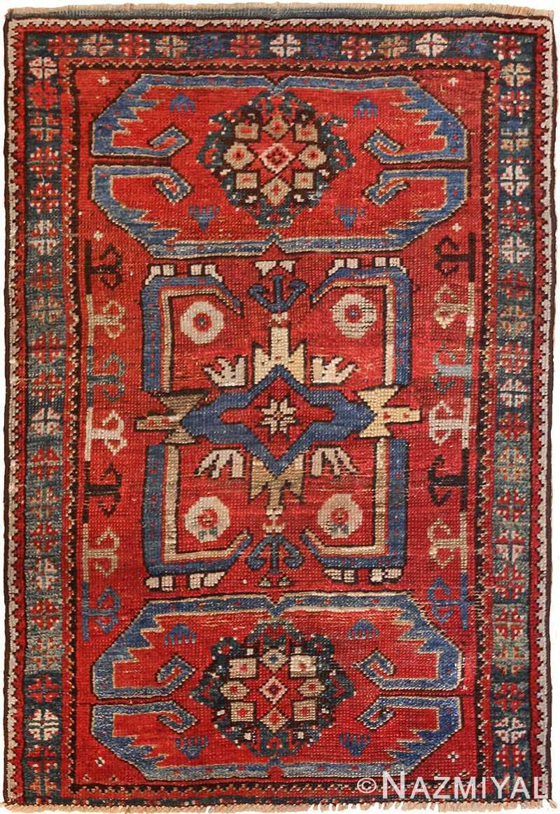 small geometric antique yastic turkish rug 48620 Nazmiyal