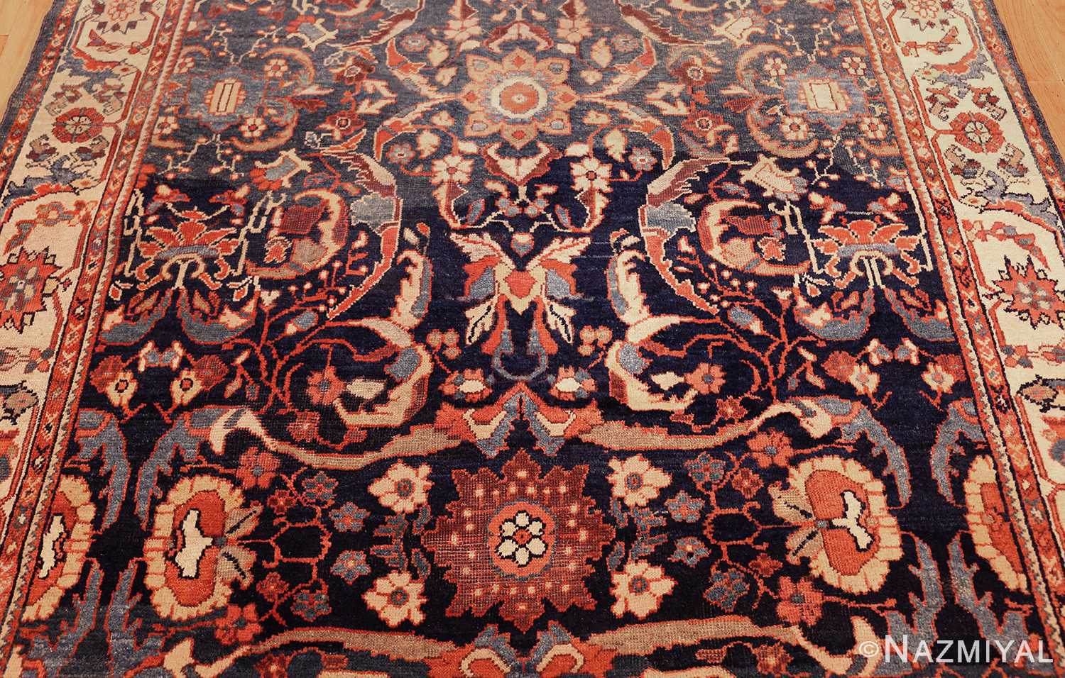 small size antique sultanabad persian rug 49301 field Nazmiyal