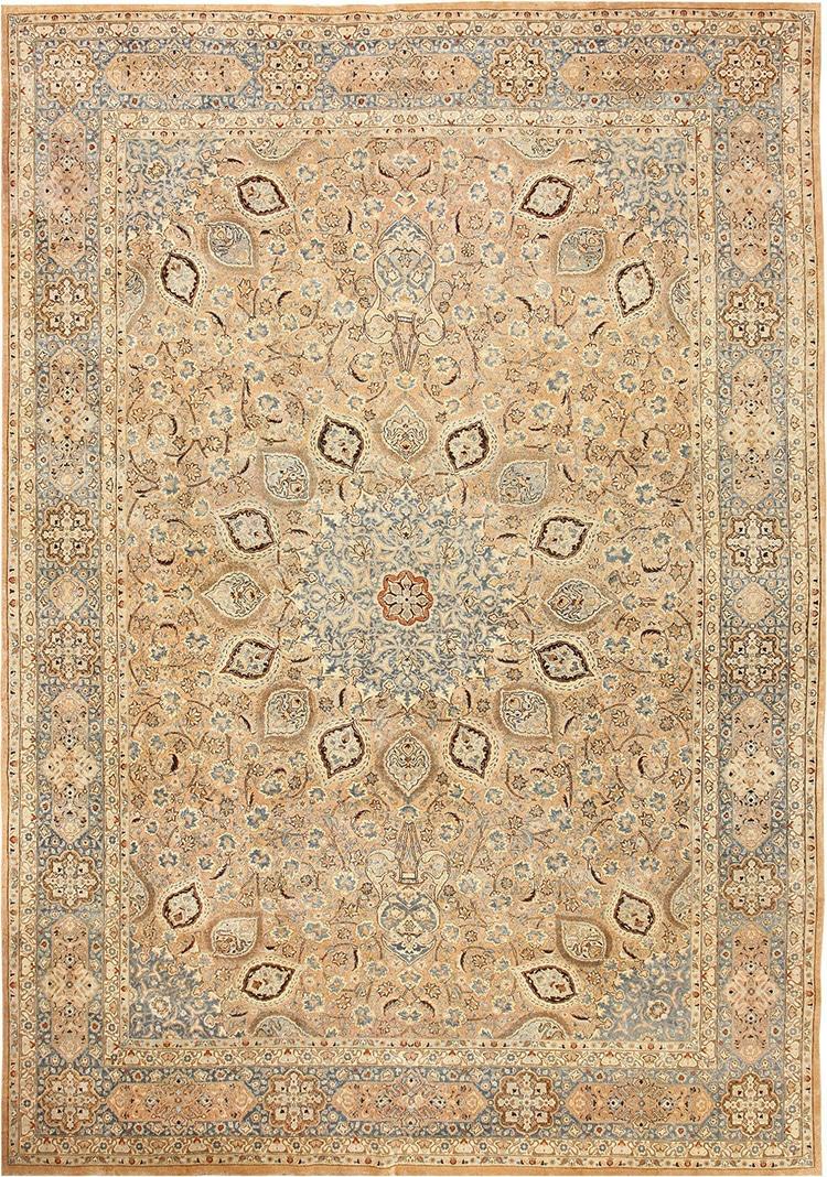 Decorative Ardabil Design Antique Persian Khorassan Rug by Nazmiyal
