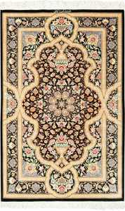 brown background silk modern qum modern persian rug 49408 Nazmiyal
