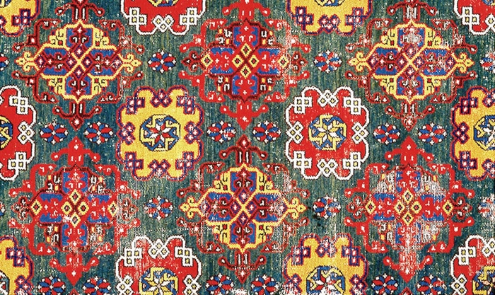 Close Up Image Of The Antique Holbein Rug Pattern by Nazmiyal