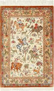 ivory hunting scene silk modern qum persian rug 49412 Nazmiyal
