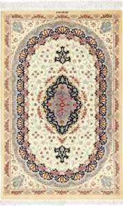 ivory silk modern qum persian rug 49406 Nazmiyal
