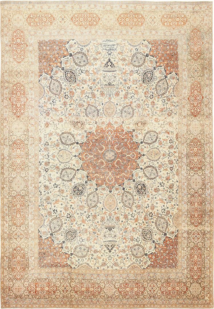 Large Antique Ardabil Design Persian Tabriz Rug by Nazmiyal