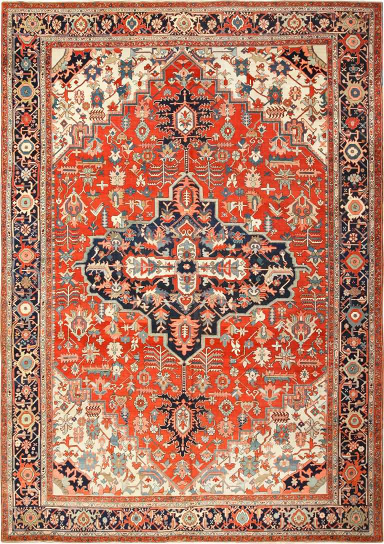 large red antique serapi persian rug 49397 Nazmiyal