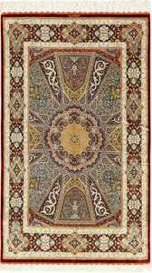 silk geometric design modern qum persian rug 49421 Nazmiyal