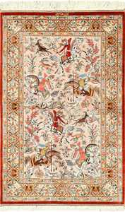silk hunting scene modern qum persian rug 49411 Nazmiyal