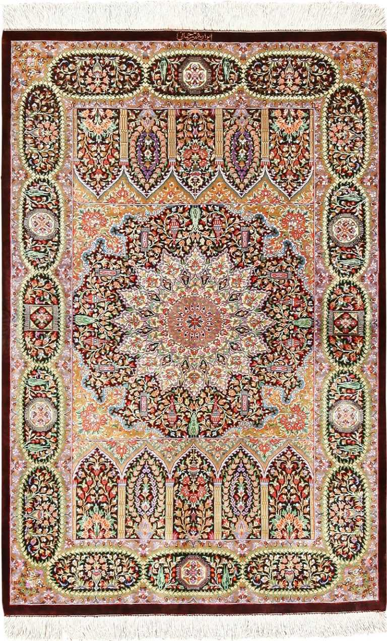 small size silk modern qum persian rug 49409 Nazmiyal