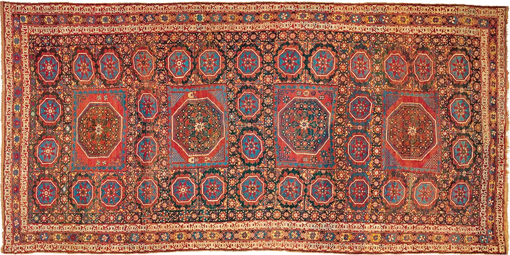 Holbein Rug With Star Filled Field Plus Small Squares by nazmiyal