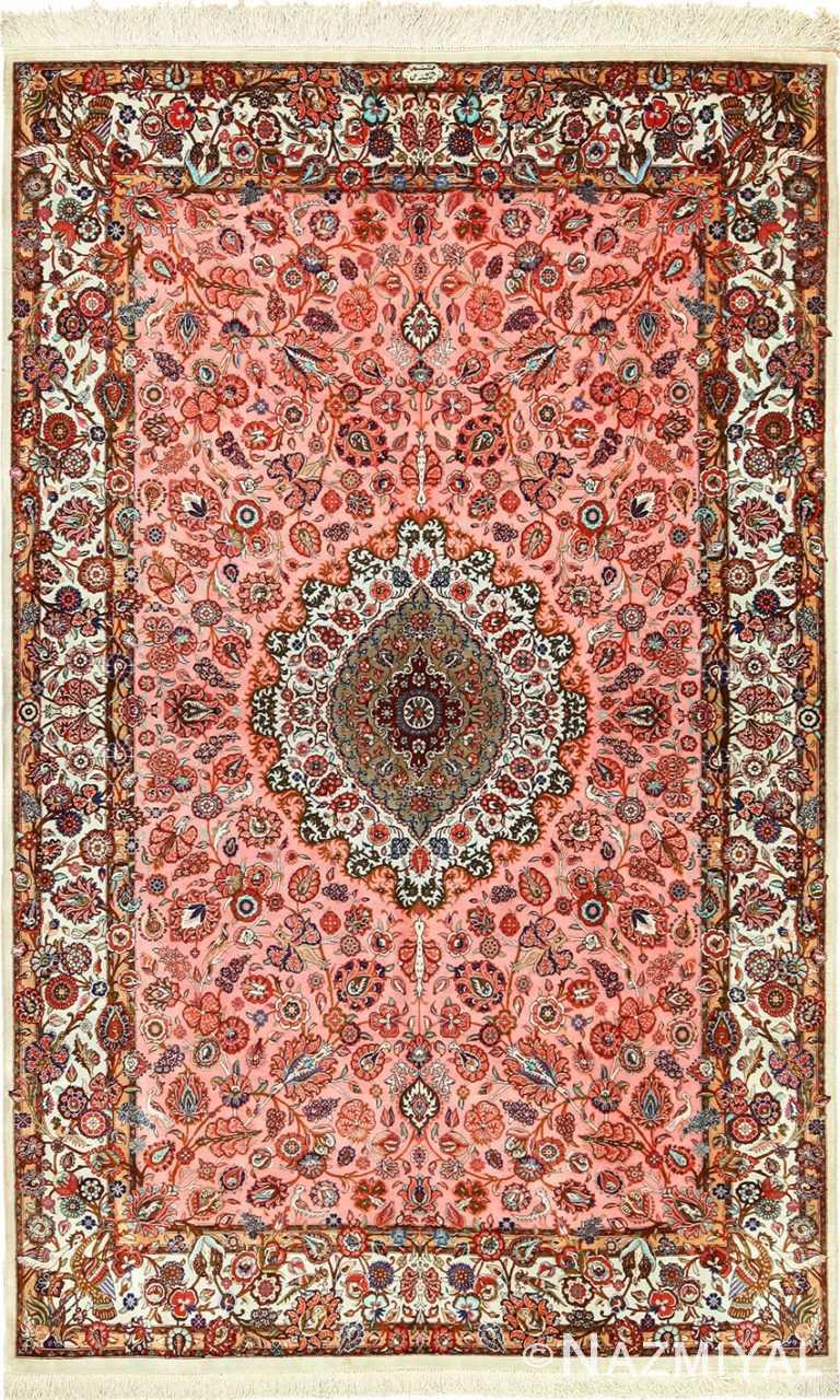 animal motif silk modern qum persian rug 49419 Nazmiyal