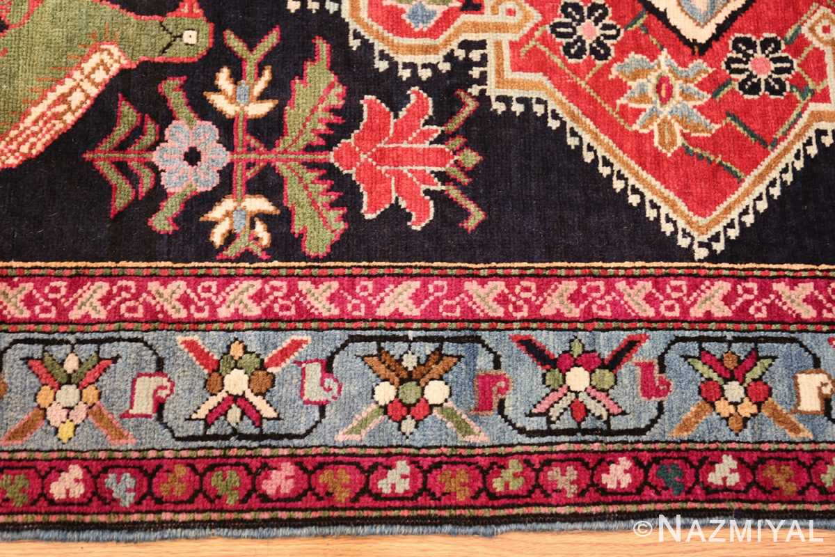 antique black background karabagh caucasian rug 49390 border Nazmiyal