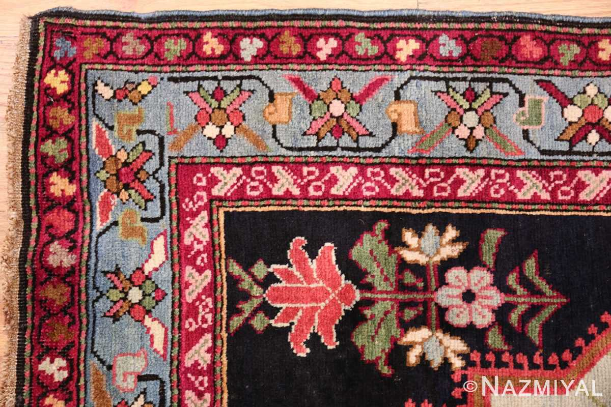 antique black background karabagh caucasian rug 49390 corner Nazmiyal