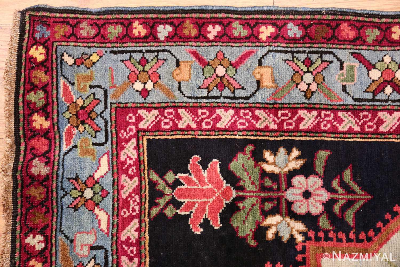 antique black background karabagh caucasian rug 49390 corner Nazmiyal