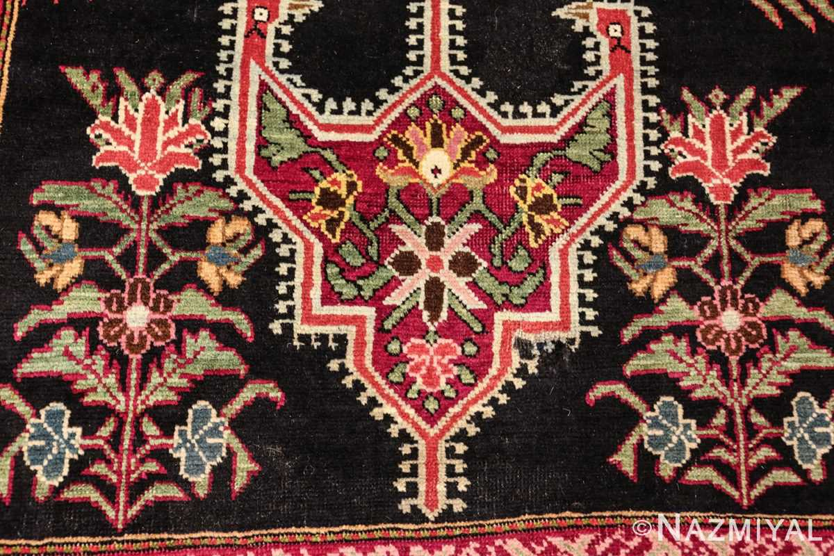 antique black background karabagh caucasian rug 49390 flowers Nazmiyal
