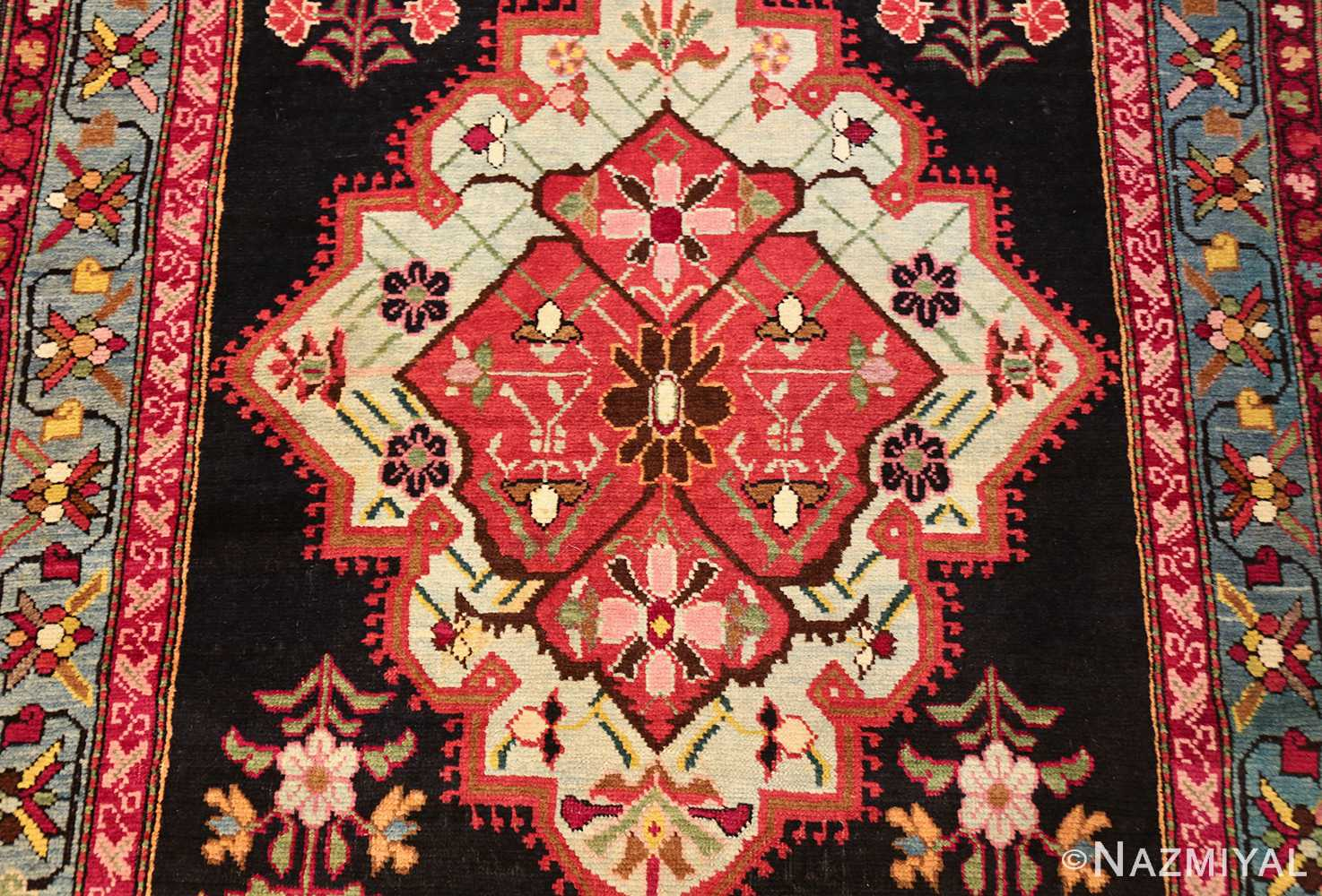 antique black background karabagh caucasian rug 49390 medallion Nazmiyal